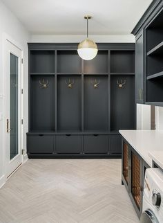 Mudroom lockers, gray mudroom locker, mudroom design, herringbone floors