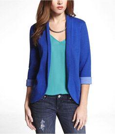 Express Womens Knit Curved Hem Jacket Celestial Blue, Medium