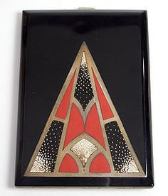 French lacquer and egg shell inlaid cigarette case, circa 1930.