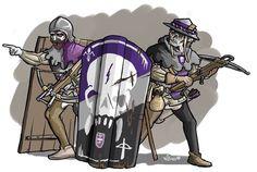 Ondode kruisboogschutters die zich schuilhouden achter hun pavises! Credits voor de tekening gaan naar Niels!