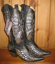 Rivertrail Mercantile - Corral Black Silver Wings and Cross Cowgirl Boots, $259.99 (http://www.rivertrailmercantile.com/corral-black-silver-wings-and-cross-cowgirl-boots/)