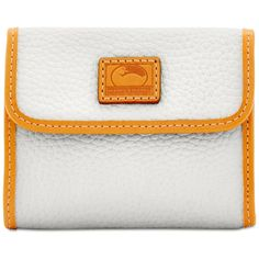 Dooney & Bourke Patterson Small Credit Card Flap Wallet ($98) ❤ liked on Polyvore featuring bags, wallets, white, white bag, dooney bourke wallet, dooney bourke bags, flap wallet and white wallet