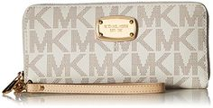 Women's Clutch Handbags - Michael Kors Jet Set Item Travel Continental Wallet Clutch Wristlet PVC Vanilla -- See this great product.