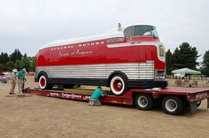 Futurliner loaded on a trailer. Ron travels to shows with the Futurliner.