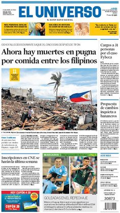 Portada de #DiarioELUNIVERSO del jueves 14 de noviembre del 2013.  Las noticias del día en: www.eluniverso.com