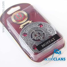Moffat Clan Crest Plaid Brooch. Free worldwide shipping available.
