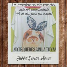 """!preparate para el buen tiempo! Camisetas exclusivas """"Bunny"""" solo 15€ cada una, envio incluido (3€ de descuento para dos o mas productos) Pedidos/PayPal: info@rabbitrescuespain.org"""
