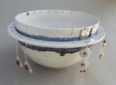 White Jewelry Bowl Spring Organization, Multi-Function Stud & Long Earring Storage, white Handmade Pottery