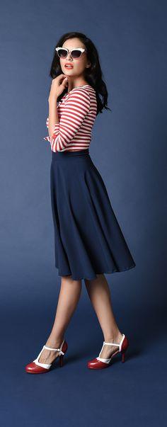 Unique Vintage Retro Style Navy High Waist Vivien Swing Skirt