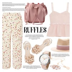 """All Ruffled Up"" by helenevlacho ❤ liked on Polyvore featuring Steve J & Yoni P, Dorothy Perkins, Miu Miu, Maison Michel, Rina Limor, London Road, ruffles and contestentry"