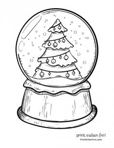 Snow globe with a Christmas tree coloring page & Print. Snow globe with a Christmas tree coloring page & Print. Snowman Coloring Pages, Christmas Tree Coloring Page, Printable Christmas Coloring Pages, Christmas Doodles, Christmas Drawing, Christmas Printables, Coloring Pages For Kids, Coloring Books, Christmas Pictures To Draw