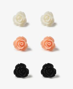 Lacquered Rose Stud Set |