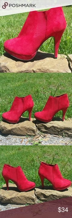 """Red Suede Booties - Color: Red   - Material: Suede   - Heel height: 4""""   - Only worn twice & in excellent condition GC Shoes Shoes Ankle Boots & Booties"""