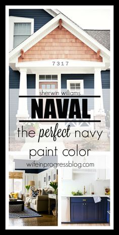 Naval by Sherwin Williams - the perfect navy blue paint color for every room in your home via @wifeinprogressblog