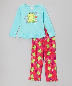 Take a look at this Blue Frog & Stars Pajama Set - Girls by Komar Kids on #zulily today!