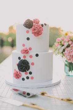 navy and pink polka dot ruffle wedding cake   www.onefabday.com