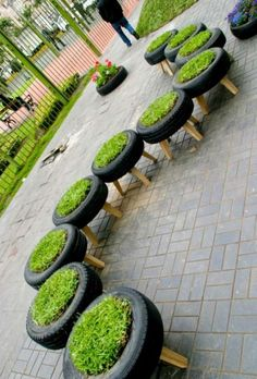 10 Creative Uses for Old Car Tires==would be great in an outdoor garden, with grass plants to use as extra seating.