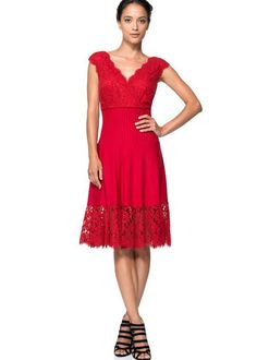 Tadashi Shoji Women's Jersey & Lace Dress Sz S