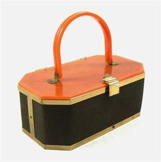 1950's box bag with amber lucite lid