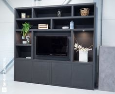 nl Goog in zwart MDF € Tv Storage, Garden Architecture, Living Area, Living Room, Tv Unit, Future House, Showroom, Interior Decorating, Sweet Home