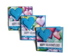 Colorful Valentine Heart Cards Mini Valentine by lilaccottagecards