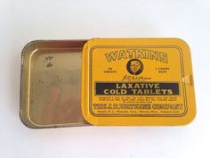 Antique Watkins Laxative advertising compact tin - vintage  Pink Room  160912 by ThePinkRoom