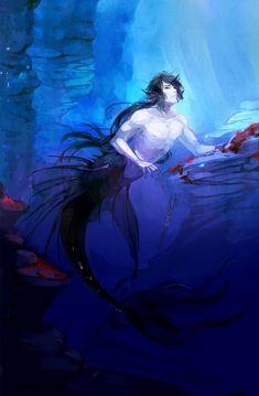 (Not my art) Commission: Deep sea merman by Taro-K Fantasy Mermaids, Mermaids And Mermen, Magical Creatures, Fantasy Creatures, Anime Oc, Anime Guys, Anime Merman, Mermaid Boy, Dark Mermaid