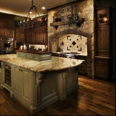 wood floor stone kitchen | Great wood floors and stone! | kitchens