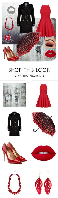 """""""#Rainy day"""" by chrissy102 ❤ liked on Polyvore featuring Leftbank Art, Chi Chi, Burberry, Lulu Guinness, Salvatore Ferragamo, Lime Crime, M&Co and Aurélie Bidermann"""