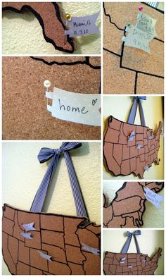 Corkboard Map: Where you've been & where ya wanna go! great for the kids!