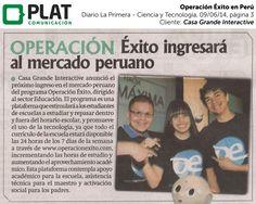 Operación Éxito: Ingreso al mercado peruano de servicios educativos en el diario La Primera de Perú (09/06/14).