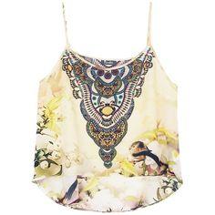 Shahida Parides White Floral Print Designer Cami Top - Shahida Parides (3 260 ZAR) ❤ liked on Polyvore featuring tops, white singlet, cami tank, cami tank tops, camisole tops and white tank