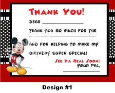 Disney Mickey Mouse Clubhouse - Birthday Party Printable - Thank You Notes with photo option. $5.00, via Etsy.