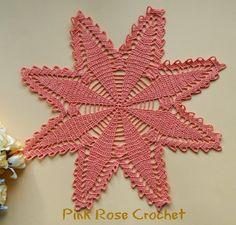 PINK ROSE CROCHET: Centrinho Festive Star Coral