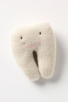 "Tooth Fairy Pillow #anthropologie    DETAILS  A little pocket on the back this soft, alpaca-yarn pillow will hold a pearly white in exchange for few coins or a bill. By Oeuf.        Baby alpaca; polyfill      Hand wash      5.25""H, 4.75""W      Imported         Style #: 24859621    color: white"