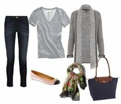 perfect travel outfit (especially when traveling from cold weather to warm, or vice versa): jeans, a light top, thick cozy cardi, flats, scarf, & a roomy purse.
