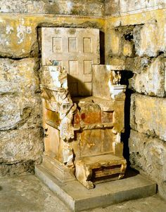 The marble throne of a late 4th century BCE queen from the Rhomaios tomb at Aegae. Macedonia, Greece