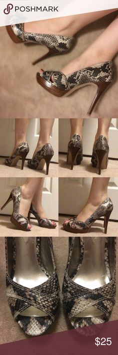 """GUESS Snakeskin Heels In very good condition! They are true to size. 4"""" heel Guess Shoes Heels"""