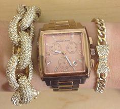 Arm candy - J.Crew bracelet, MK watch, BaubleBar bow bracelet
