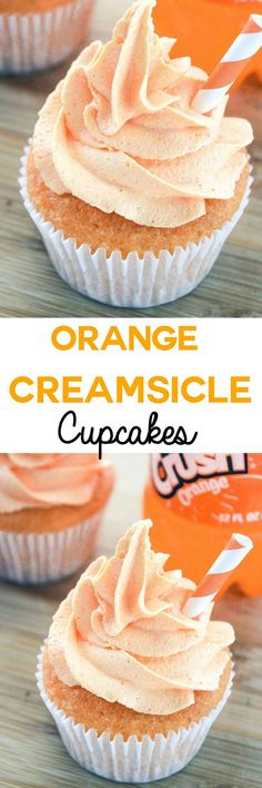 Orange Creamsicle Cupcakes: Moist and tangy vanilla orange cupcakes topped with a creamy orange buttercream. Bring back memories of childhood with these cupcakes that taste just like an orange creamsicle!