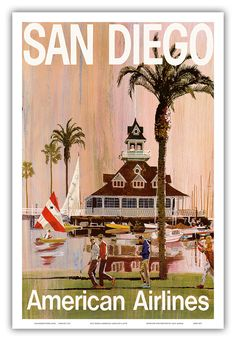 12in x 18in Vintage Airline Travel Poster Art Print - San Diego California American Airlines - PRTB3171