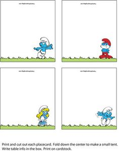 Smurfs Place Cards, Smurfs, Place Cards - Free Printable Ideas from Family Shoppingbag.com