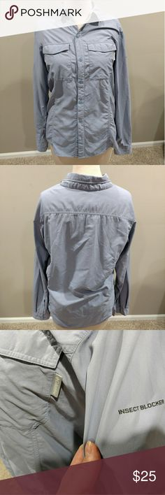 COLUMBIA INSECT BOCKER SHIRT SZ L EXCELLENT CONDITION. LIGHT BLUEISH GREY COLOR. Columbia Shirts