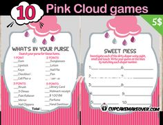 Celebrate your baby girl'sarrival with a lovely rain cloudthemedbaby shower games. Thisbeautiful designmarries several colorsof pinkwith a touch of grey. The setalso includes a book request card to help build the new baby's library.  DIY printable fun games. #cupcakemakeover