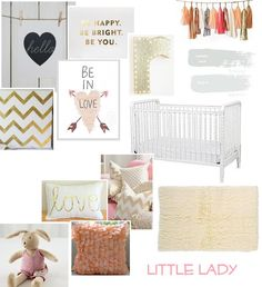 Peach, Gold, Pink & White Nursery Inspiration...Almost identical to the board I created. I must be on the right design path!