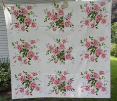 """Vintage Unused Wilendur Pink """"Royal Rose"""" Tablecloth"""