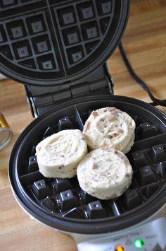 cinnamon rolls in a waffle iron! who knew! cinnamon rolls in. - cinnamon rolls in a waffle iron! who knew! cinnamon rolls in a waffle iron - Waffle Iron Cinnamon Rolls, Cinnamon Bun Waffles, Pillsbury Cinnamon Rolls, Brunch Recipes, Breakfast Recipes, Pancake Recipes, Crepe Recipes, Breakfast Sandwiches, Breakfast Ideas