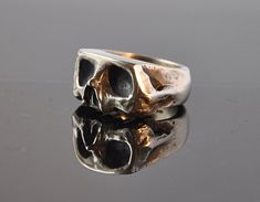 Oxidised Sliced Skull Silver Ring by Thenineofhearts on Etsy