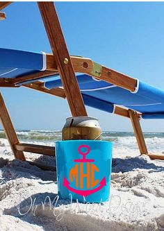 Monogram Beach Cup Holder by OhMyWordDesigns on Etsy, $11.00
