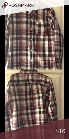 👔Boys Long Sleeve Plaid Button Shirt ~ XL/14👔 Burgundy/Black/White or Ivory CRAZY 8 Long Sleeve Plaid Button Down Shirt ~ XL/14 ~ EUC  GREAT FOR EASTER, PICTURE DAY or ANYTIME! A VERY nice shirt!  This is really nice. Worn once or twice. This shirt is beautiful & well taken care of! I paired this with the Steve Harvey sweater vest (that I have listed with another shirt In a separate listing) & black pants.   It's in FABULOUS condition, no stains, rips, or tears. It's nice, clean, smells…